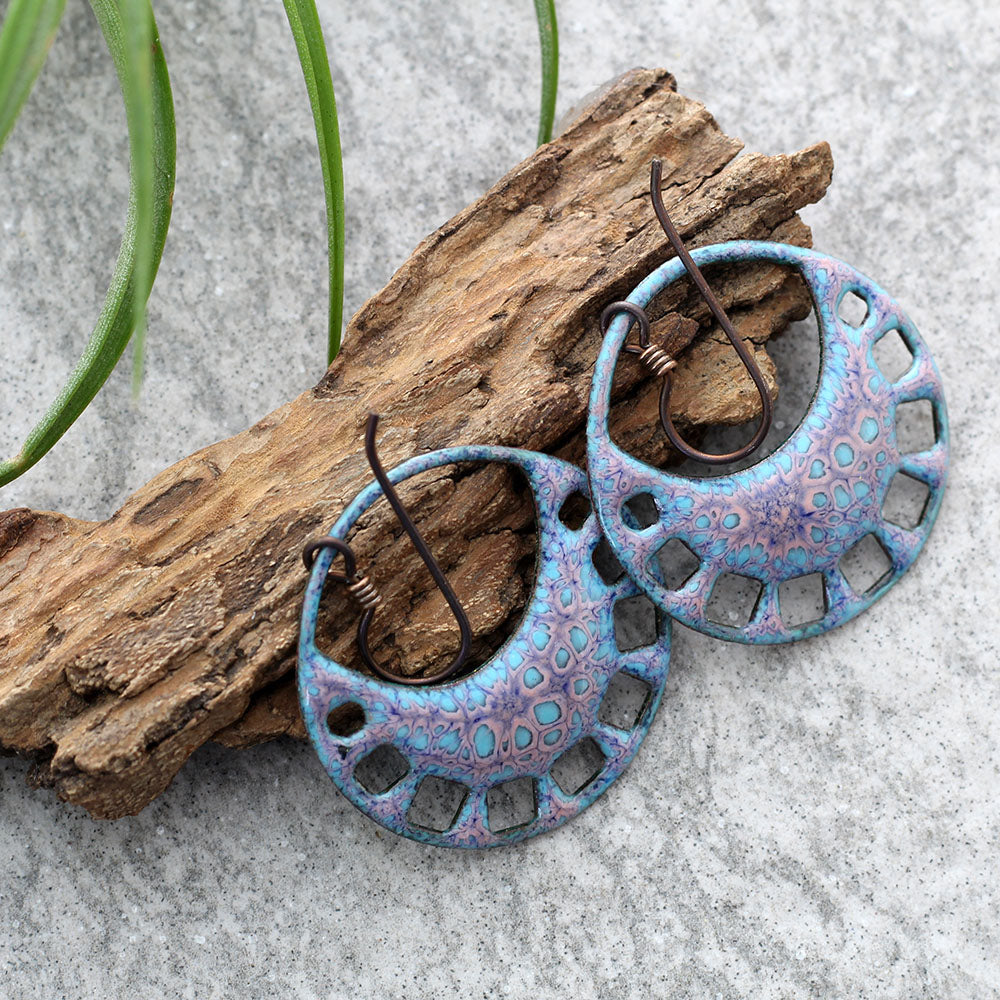 Boho Blue & Pink Enamel Earrings