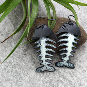 fish skeleton earrings
