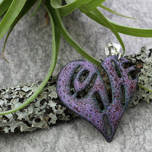 purple heart pendant on sterling silver bail