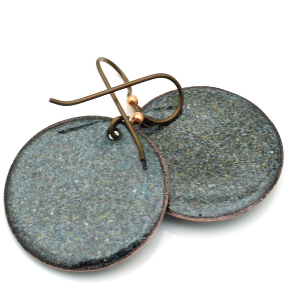 Round Lichen Earrings Animal Print