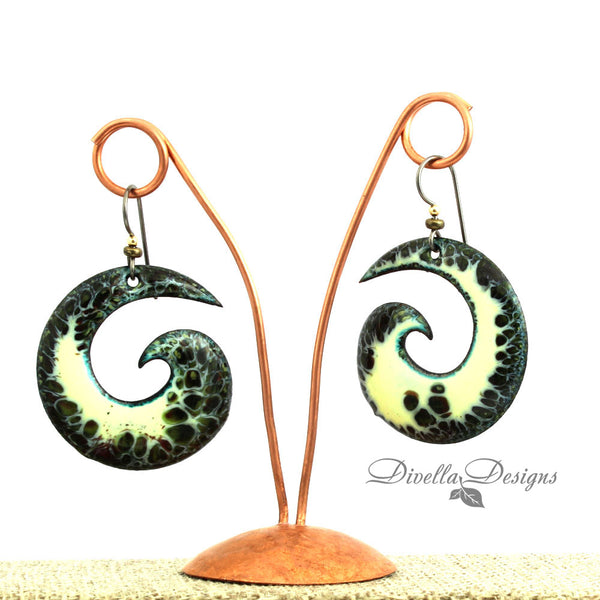 Spiral Earrings Pale Yellow & Black