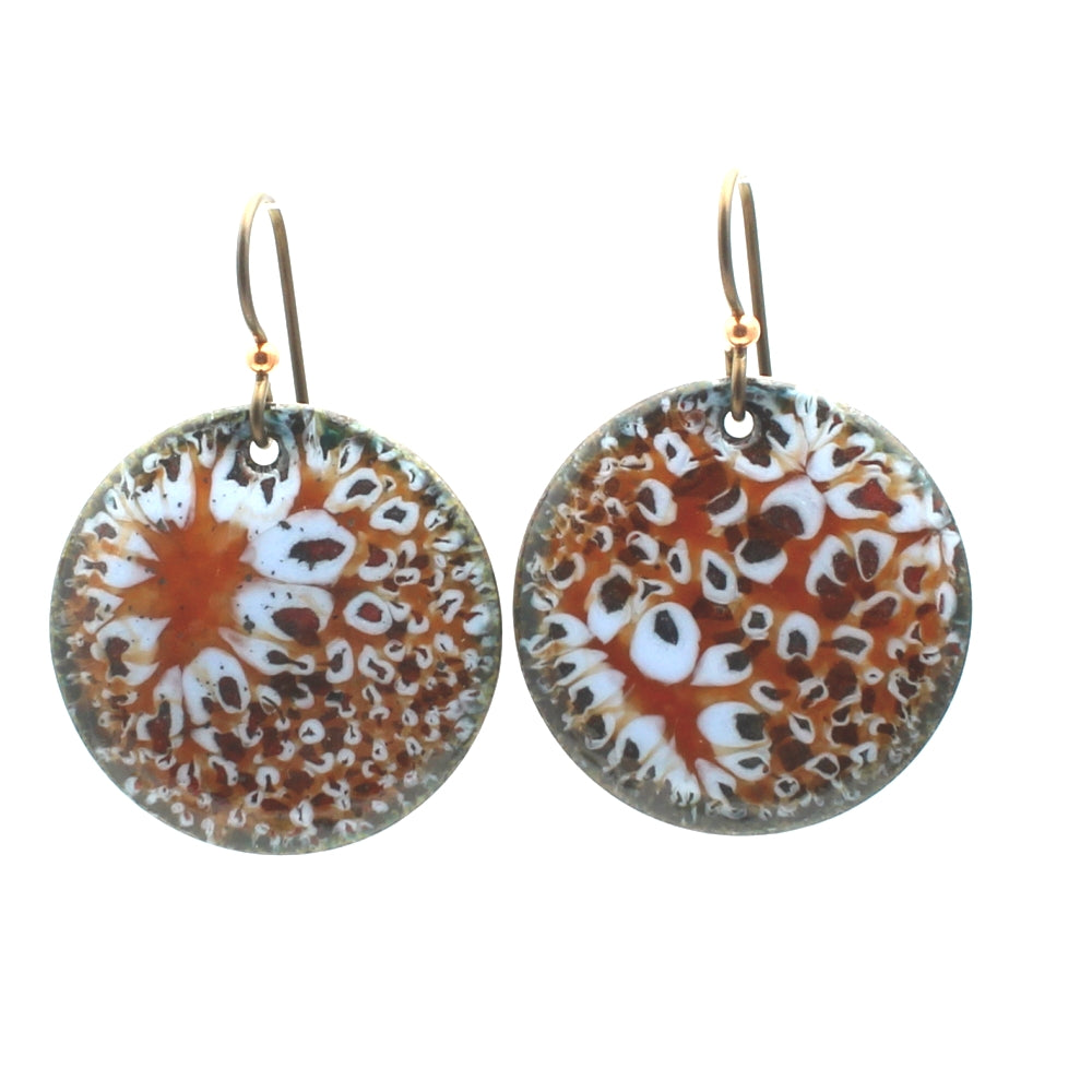 Round Lichen Earrings Orange & Blue