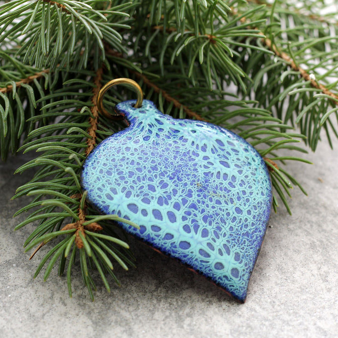 Enamel Tree Ornaments Blues with tree