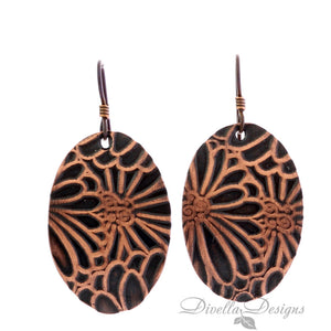 copper boho earring with floral motif