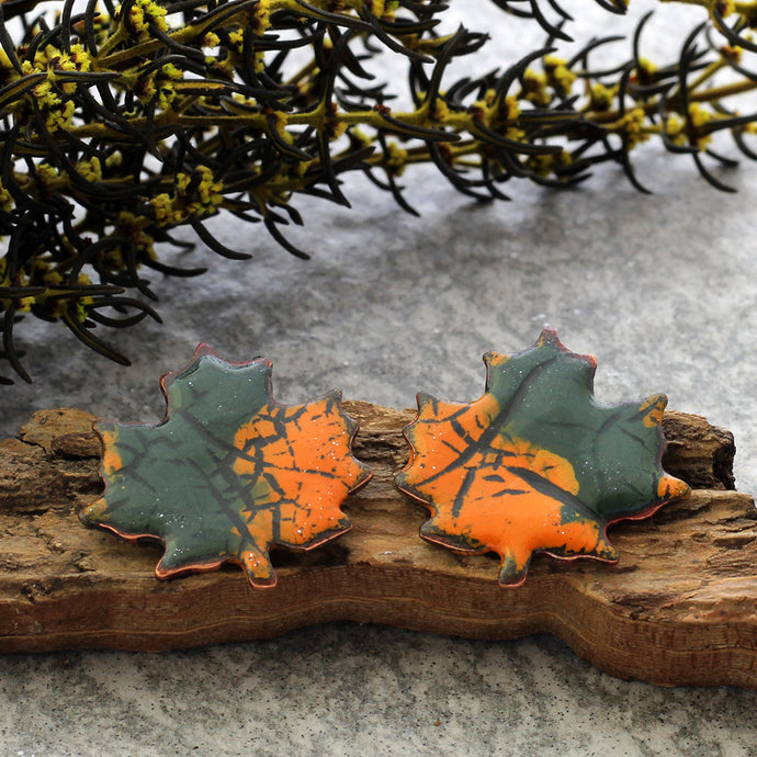 orange and green maple leaf stud earrings