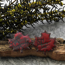Load image into Gallery viewer, autumn red maple leaf post earrings
