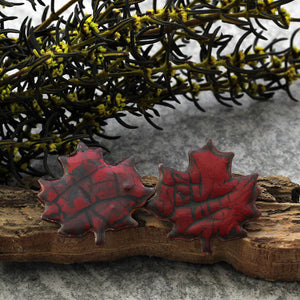 autumn red maple leaf post earrings