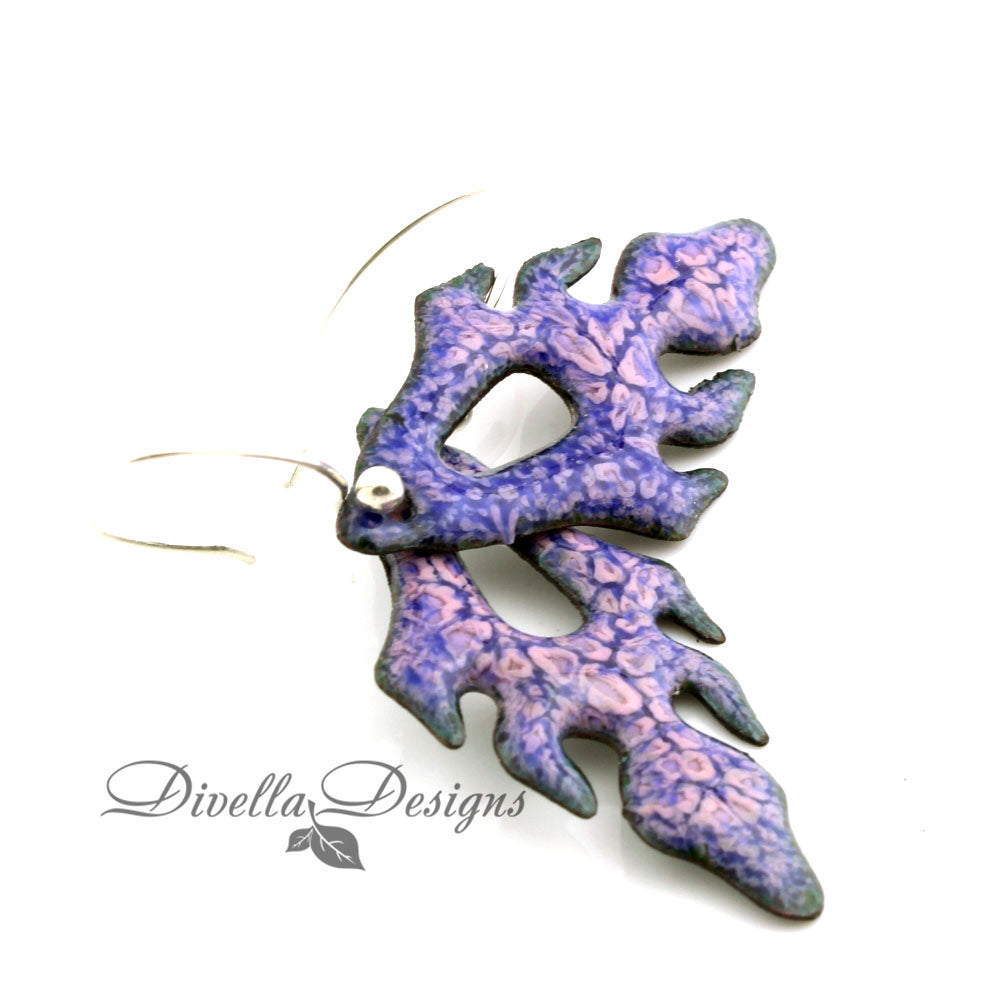 Purple & Pink Frond Earrings by divelladesigns.com