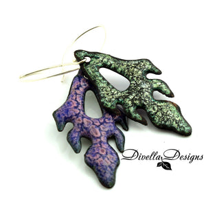Front and back view of Frond boho Earrings by divelladesigns.com