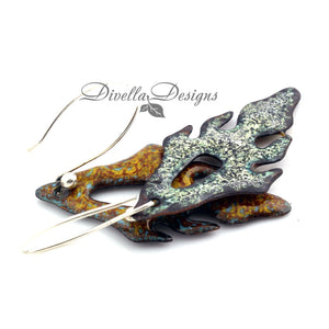Back image of Pumpkin and yellow frond shaped enamel earrings on a white background by Divella Designs