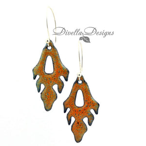 Orange frond shaped boho earrings by Divella Designs