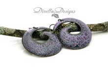 Load image into Gallery viewer, Light and dark purple big boho earrings on niobium ear wires.