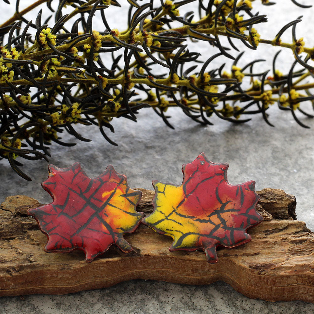 red and yellow maple leaf stud earrings
