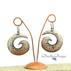 Mikado orange, cream and gray spiral earrings