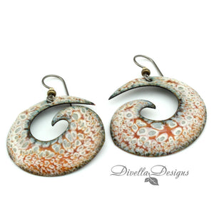 Spiral Statement Vitreous Enamel Earrings