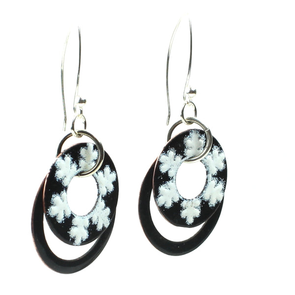 black and white floral earrings