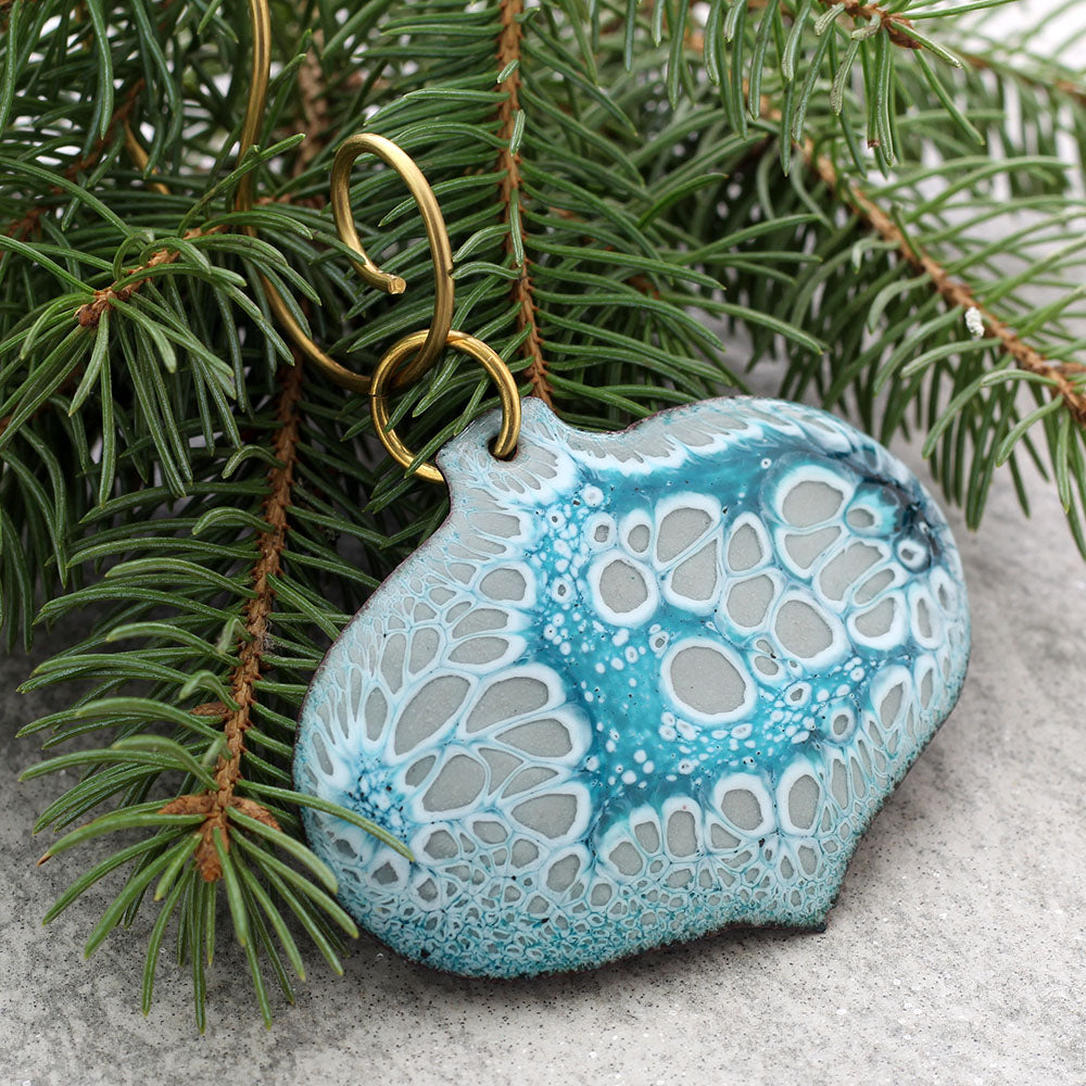 Enamel Tree Ornaments Teal & Grey with tree