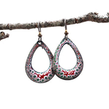 Load image into Gallery viewer, red white and green teardrop earrings