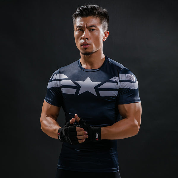 Men's Captain America Compression Short Sleeve Shirt - Prohero Store
