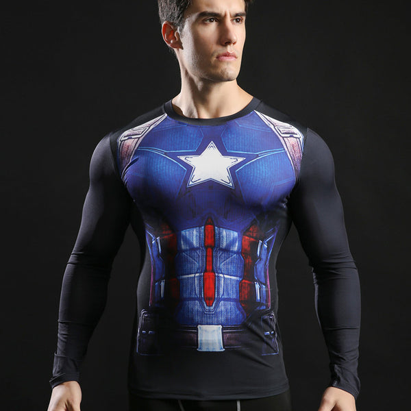 Men's Captain America Compression Long Sleeve Shirt - Prohero Store