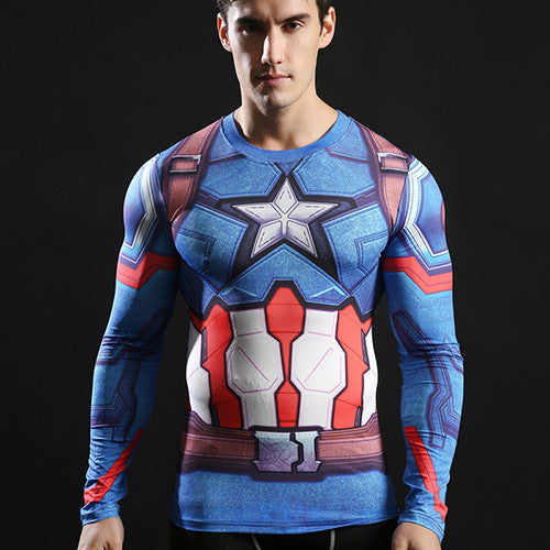 Men's Captain America Blue Compression Long Sleeve Shirt - Prohero Store