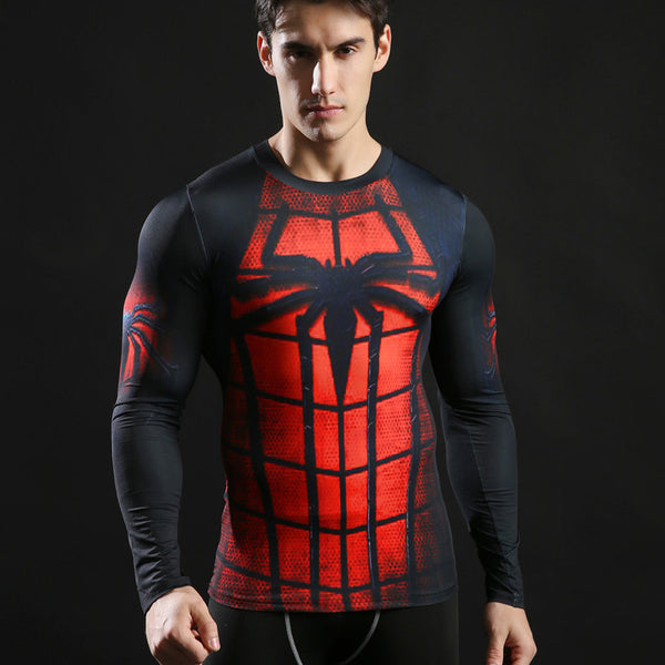 Men's Spiderman Compression Long Sleeve Shirt - Prohero Store