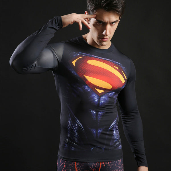 Men's Superman Compression Long Sleeve Shirt - Prohero Store