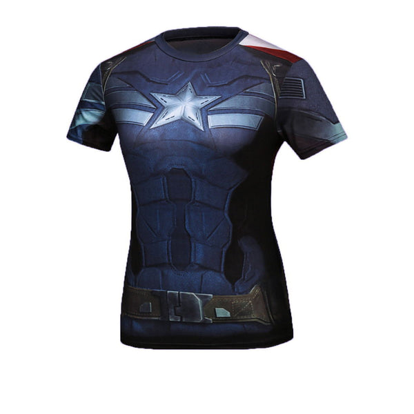 Women's Captain America Compression Short Sleeve Shirt - Prohero Store