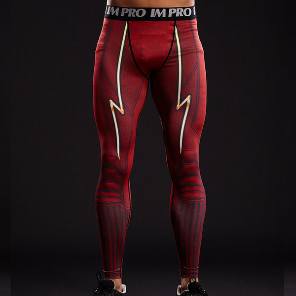 Men's Flash Red/White Gym Compression Leggings Pants - Prohero Store