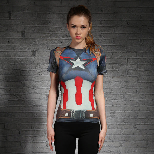 Women's Captain America Compression Short Sleeve - Prohero Store