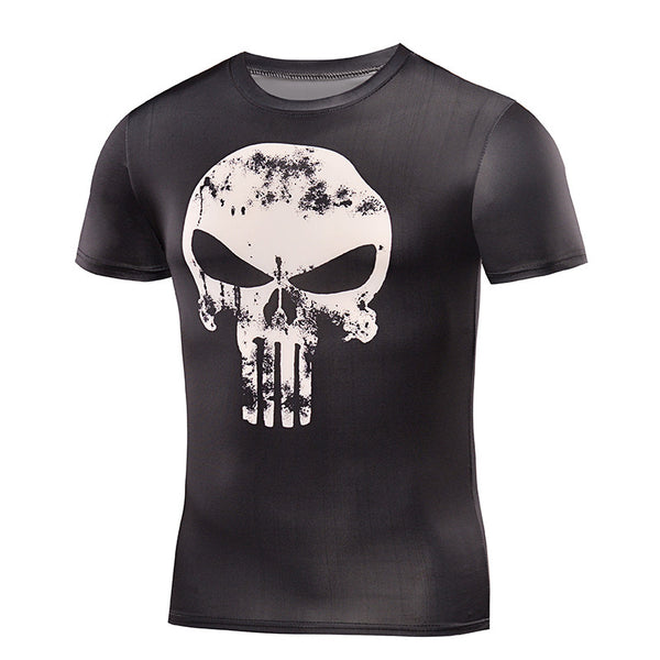 Men's Black Punisher Compression Short Sleeve Shirt - Prohero Store