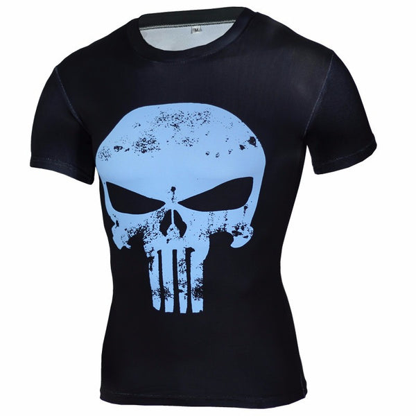 Men's Blue Black Punisher Compression Short Sleeve Shirt - Prohero Store