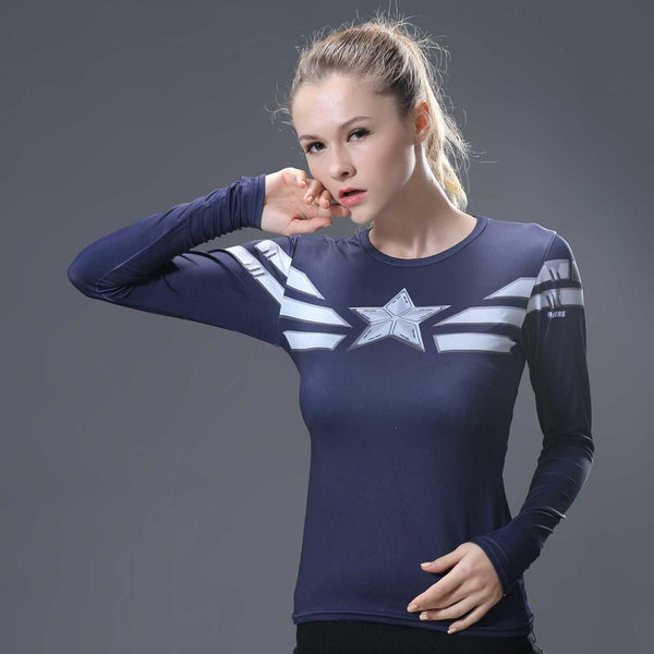 Women's Captain America Compression Long Sleeve Shirt - Prohero Store