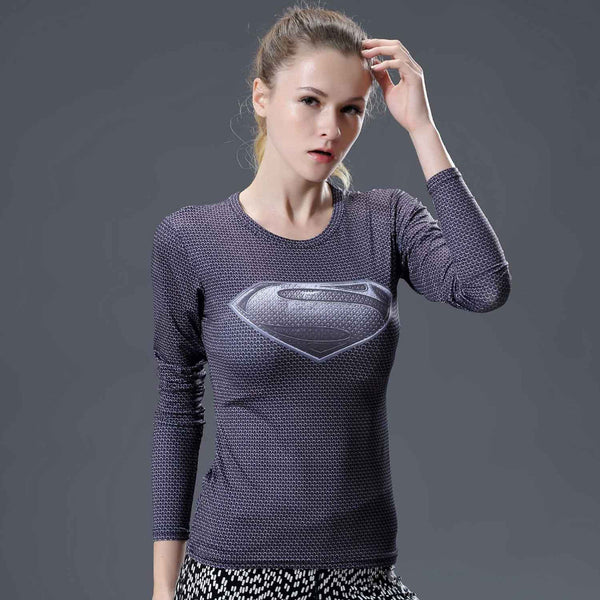 Women's Grey Superman Compression Long Sleeve Shirt - Prohero Store
