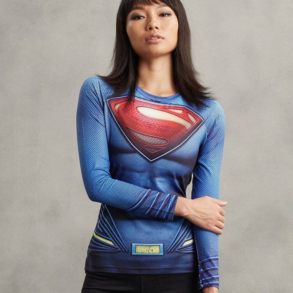 Women's Superman Compression Long Sleeve Shirt - Prohero Store