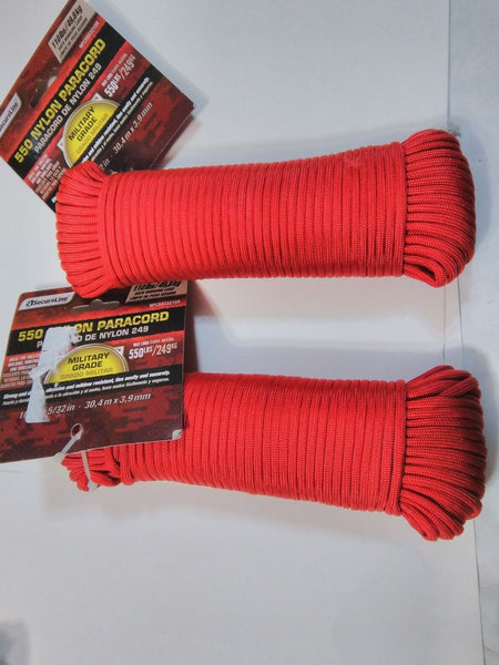 Lots of (2) NEW 550 Nylon Paracord RED 100 ft. Military Grade ~FREE SHIPPING - Best Buy Affordable