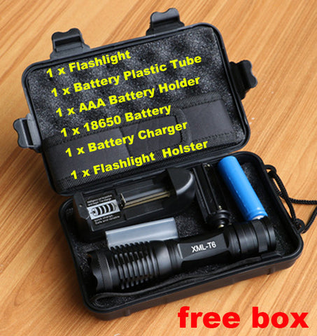 Lanterna 8000lm Zoomable/Adjustable Tactical Flashlight Charger