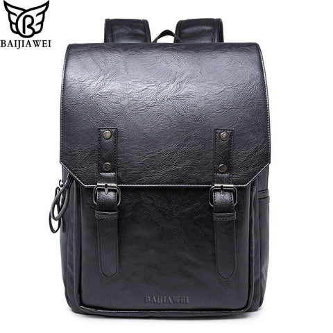 BAIJIAWEI  High Quality Oil Wax Leather Backpacks College Style Fashion Bag For Men - Best Buy Affordable