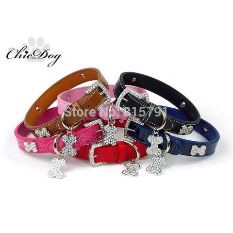 Leather Dog Collar Pet Products Rhinestone Collar For Dogs Cat Small Large Chihuahua Pitbull Dachshunds Pug - Best Buy Affordable