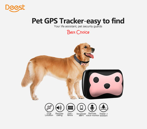 Mini Waterproof Pets Collar GPS Tracker Cat Dog 4 Frequency GPS