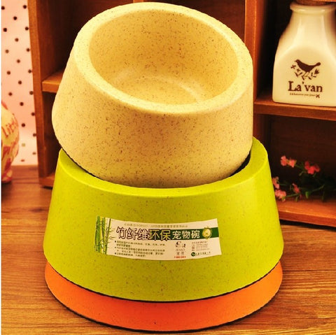 Safety Non-toxic Tasteless High Strength Bamboo Fiber Of Material Pet Dog Bowl Feeding Feeder Food Water Bowls - Best Buy Affordable