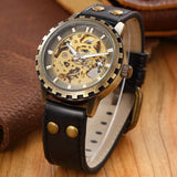 Brand leather band men male military clock automatic Skeleton mechanical Watch self wind Vintage Steampunk - Best Buy Affordable