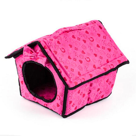 Dog Bed Soft Dog Kennel Dog House For Pets Cat Puppy Home Shape Animals House Products For Animal Removable bow tie - Best Buy Affordable