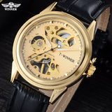 Men mechanical watches skeleton watches WINNER brand business hand wind wristwatches for men leather strap - Best Buy Affordable