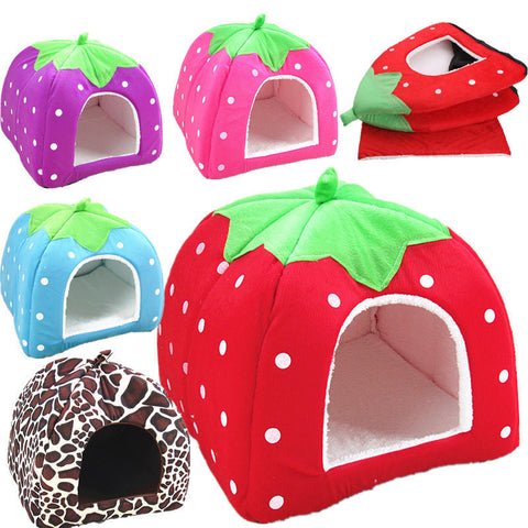 Cat House Bed Foldable Soft Winter Leopard Dog Bed Strawberry Cave Dog House Kennel - Best Buy Affordable