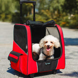 Small Pet Wheel Carrier Dog Cat High Quality Portable stroller Backpack Breathable Puppy Roller Luggage car travel transport bag - Best Buy Affordable
