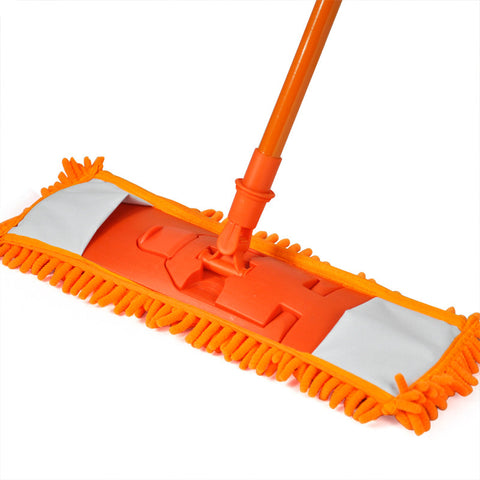 New Extendable Microfibre Mop Cleaner Sweeper Wet Dry - Orange - Best Buy Affordable