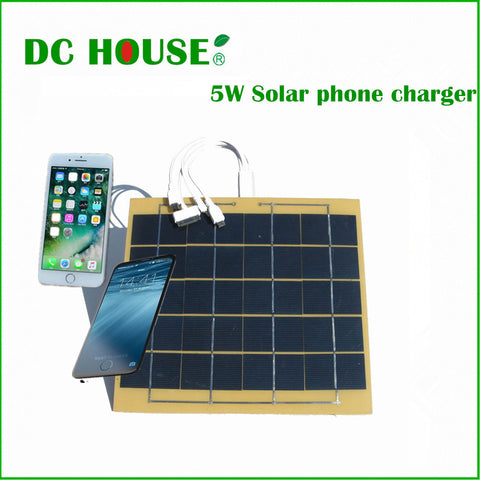 DC House High Speed Solar cell phone charger by 5w 5.5v solar panel