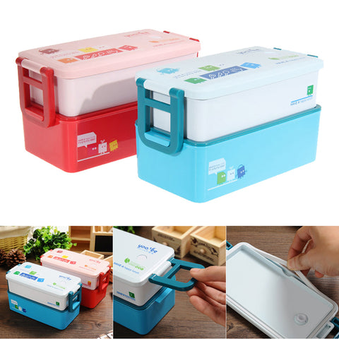 2 layer Kids Food Container Food Tableware 850ML lunchbox