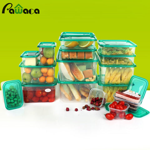 17pcs Plastic Fresh Food Containers Lunch Box